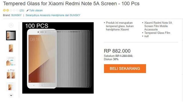 Tempered Glass for Xiaomi Redmi Note 5A Screen – 100 Pcs.