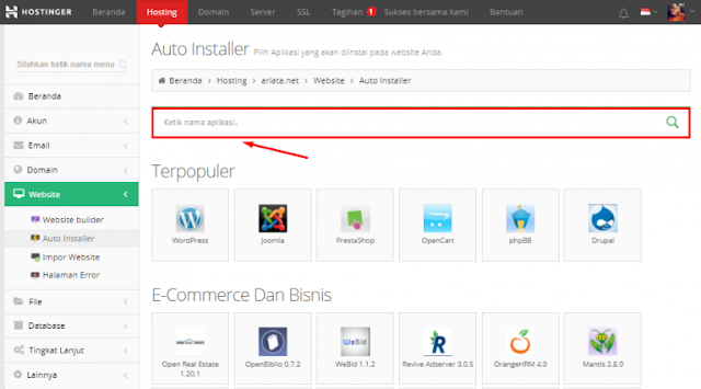 Kolom Pencarian Instalasi WordPress Hostinger.co.id