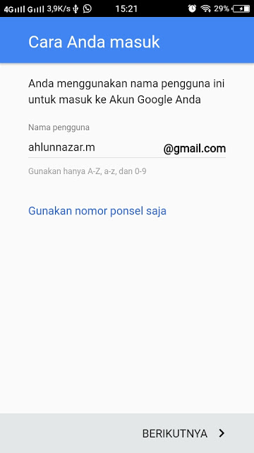 Pilih alamat Email Gmail